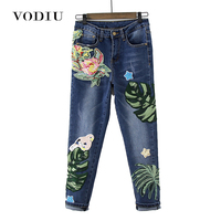 Embroidery Jeans Woman High Waist Slim Elastic Loose Blue Ankle length Trousers Leaves Floral High Quality Female Denim Jeans