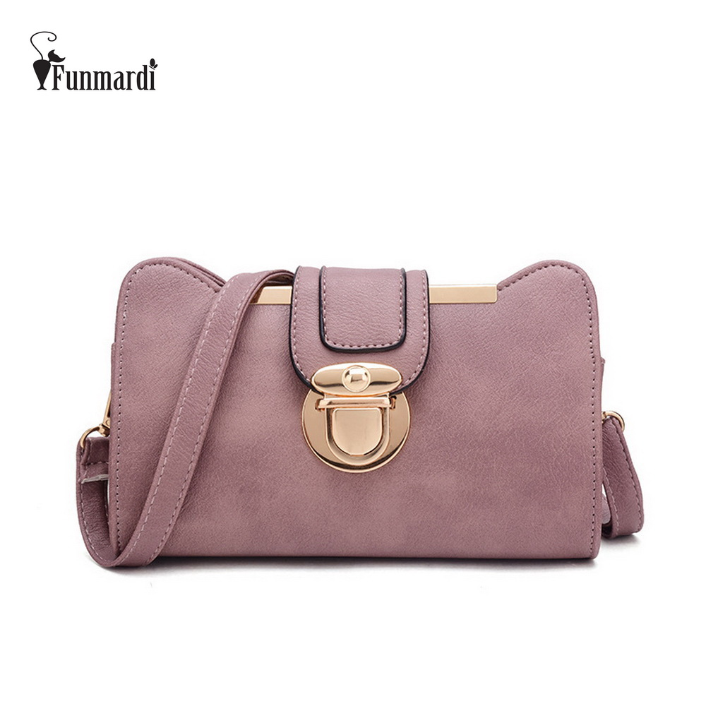 FUNMARDI Vintage Lock Leather Messenger Bag Fashion Retro Crossbody Bag Lady Shoulder Bag New Trendy Leather Women Bags WLHB1687 2017 fashion all match retro split leather women bag top grade small shoulder bags multilayer mini chain women messenger bags
