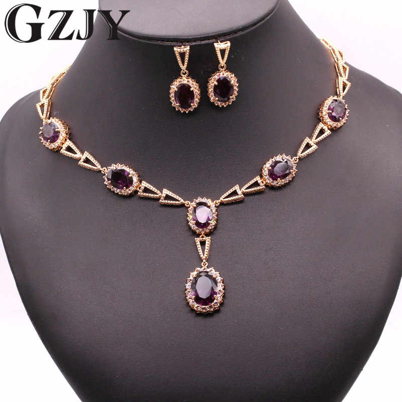GZJY Gorgeous Gold Color Oval Multi-color Zircon Earring Necklace Set For Women Accessories Wedding Jewelry Set