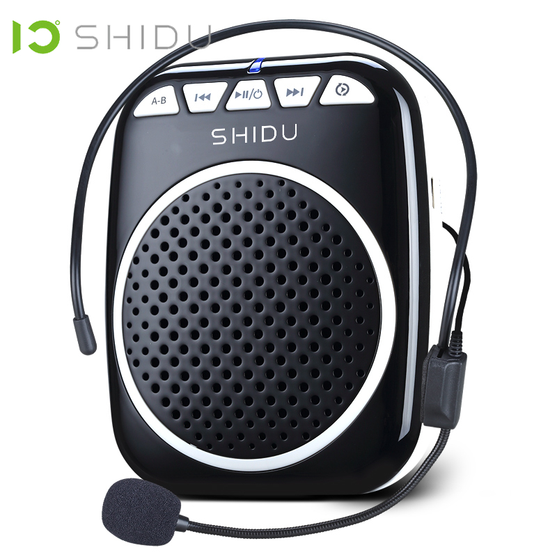 SHIDU Portable Voice Amplifier Megaphone Mini Audio Speaker With Microphone Rechargeable Ultralight Loudspeaker For Teachers 308-in Portable Speakers from Consumer Electronics