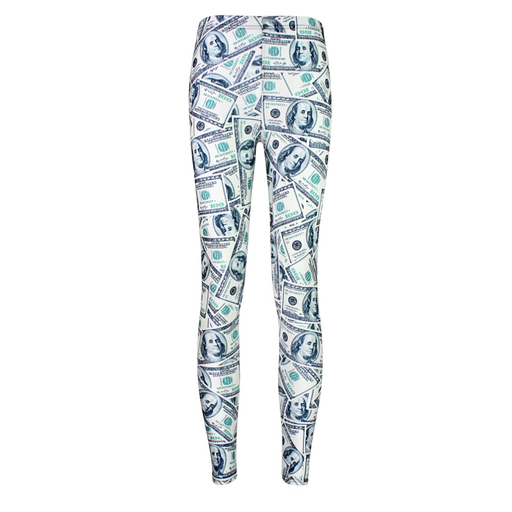 Elastic Casual Pants 3D Digital Printing Dollar Bills Pattern Women Leggings 7 Sizes Fitness Clothing Free Shipping