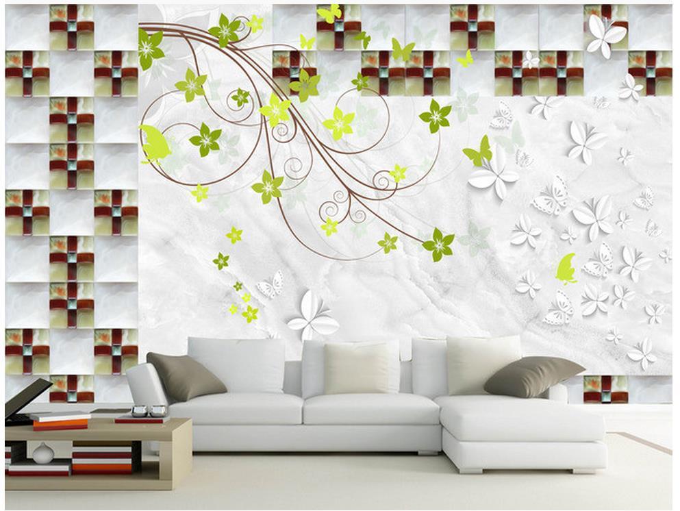 ФОТО 3d bathroom wallpaper photo 3d wallpaper Leather carving pentagonal flower European style TV wall living 3d wallpaper