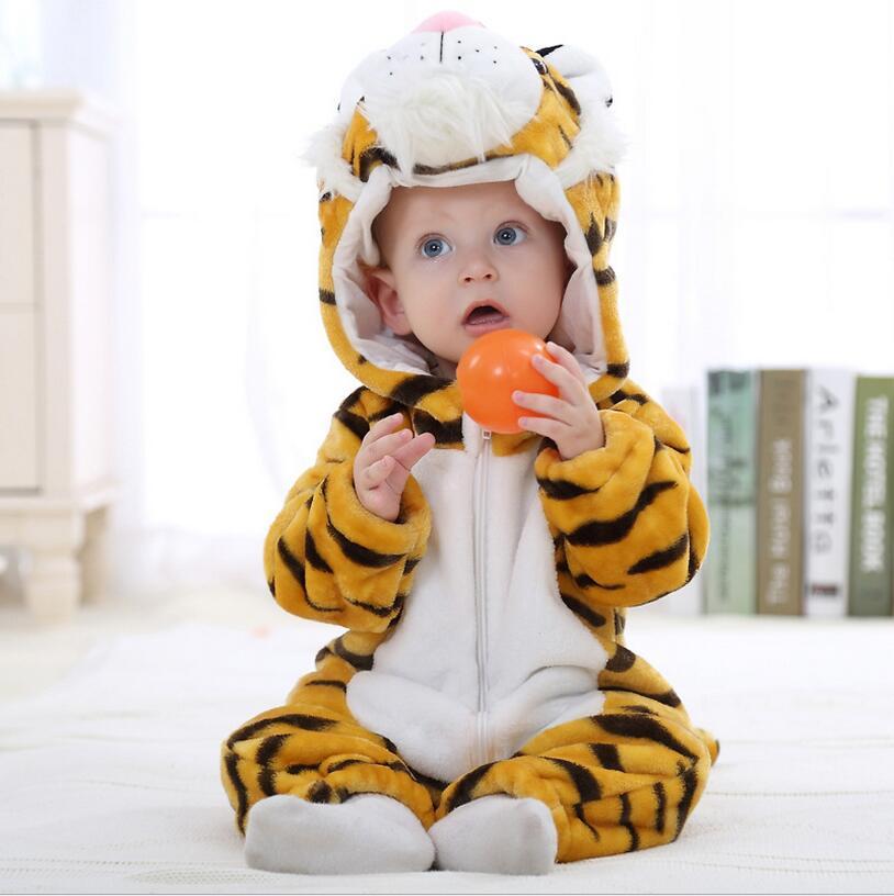 Детские комбинезоны одежда для мальчиков и девочек Тигр mamelucos Para Bebes мультфильм Тигре пижамы теплые коралловый флис One Piece macacao tigor yjy