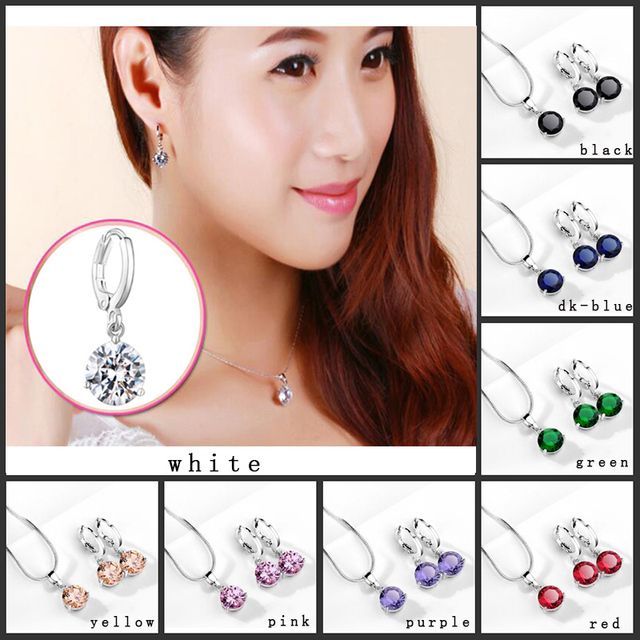 Classic Snake Necklace Earrings Set Fashion Triangle 3 Prongs Round Cubic Zircon