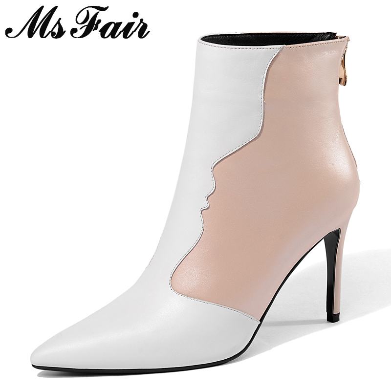 MsFair Women Boots Fashion Zipper Pointed Toe High Heel Ankle Boots Women Shoes Sexy Stiletto heel Zipper Boot Shoes For Girl цена