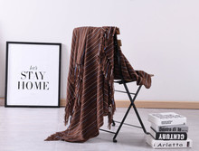 New Plain Knitted Wool Blanket Nordic Sofa Model Room Tassel Decorative Summer and Autumn