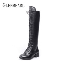 Women High Boots Knee High Winter Shoes Female Black Thick Heel Lace Up Ladies Boots Ankle Strap Woman Boots Plus Size DE