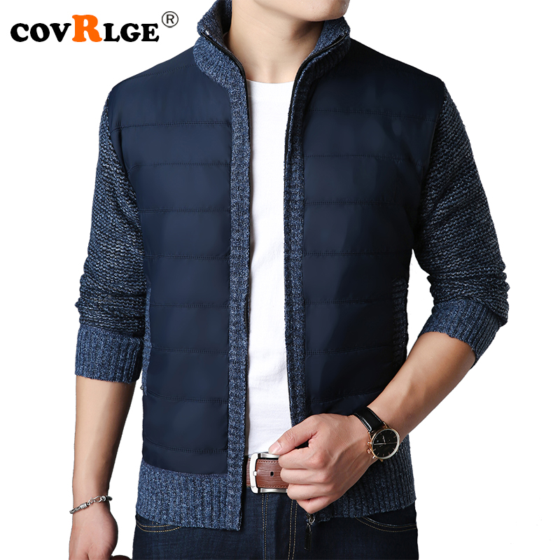 Covrlge New Winter Men Warm Cardigan Sweater Coat Fashion Patchwork Male Thicker Parkas Jacket Casual Mens Knittwear MZM041