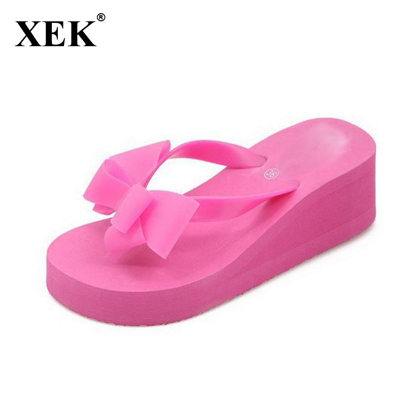 XEK New Fashion Summer Women Platform High Heel Flip Flops Beach Sandals Bowknot Slippers Women Shoes Size36-40 For Choice WFQ61