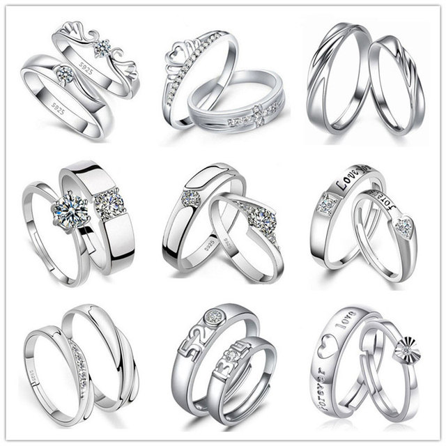 TONGLiN Genuine 925 Sterling Silver Jewelry pair love couple rings gifts bijoux en argent 925 wedding bands for men and women