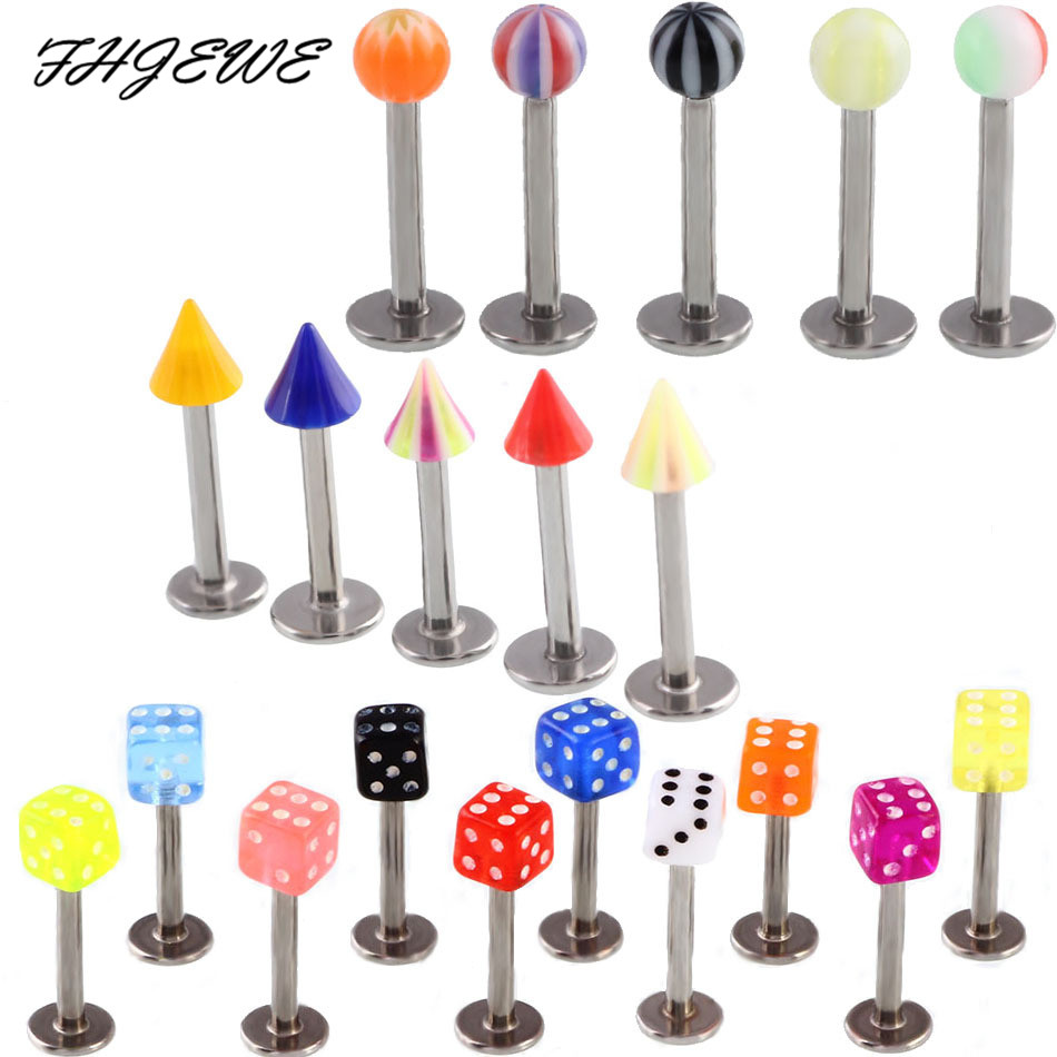 10-20pcs 16G Stainless Steel Labret Lip Piercing Jewelry Surgical Acrylic Ball Tongue Nose Ring Tragus Ear Stud Helix Jewelry
