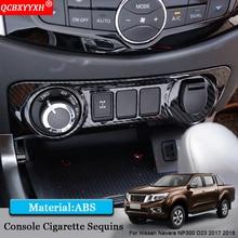 QCBXYYXH Car Styling Car Interior Frame Console Cigarette Sequins Auto Sticker Decoration For Nissan Navara NP300 D23 2017 2018