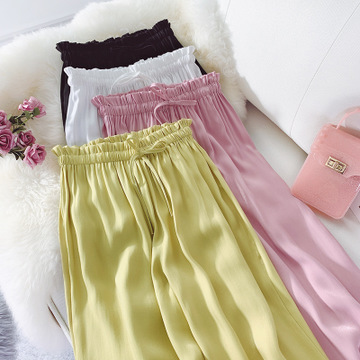 Wide Leg Pants Women Trousers Satin High Waist Woman Pants Flowing Loose Sashes Trousers Office Lady Candy Color Capris Female