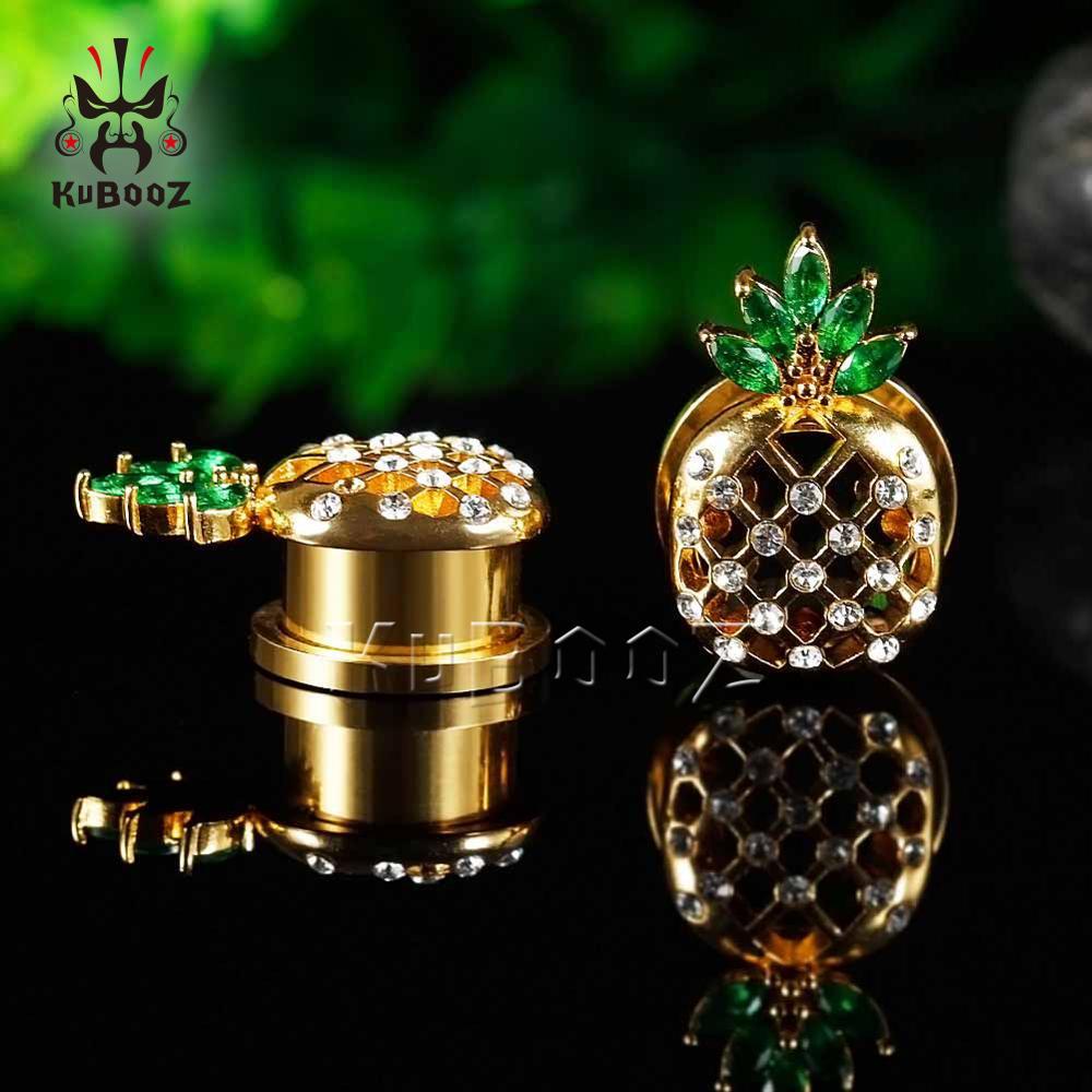 KUBOOZ ananas zatyczki do uszu tunele ekspandery ze stali nierdzewnej moda Body Piercing biżuteria nosze kolczyki na prezent Unisex w Biżuteria do ciała od Biżuteria i akcesoria na  Grupa 1