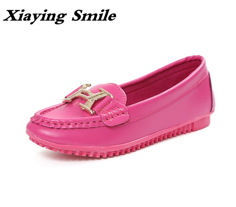 Xiaying Smile Woman Flats Shoes Women Loafers Spring Summer Fashion Casual Round Toe Slip On Metal Buckle Shallow Women Shoes xiaying smile summer new woman sandals platform women pumps buckle strap high square heel fashion casual flock lady women shoes