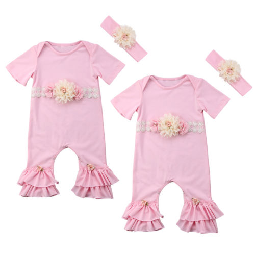 Newborn Baby Girls Flower Lace Romper Floral Pink Jumpsuit Headband Outfits Clothes