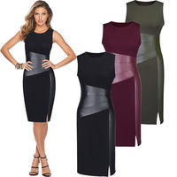 Sexy Women Sleeveless Patchwork PU Leather Dress Wine Red Black Army Green Low Cut Bodycon Evening