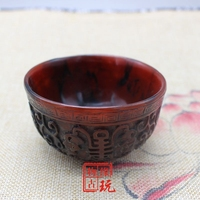 China Old Beijing old goods Ox horn carving and longevity bowl