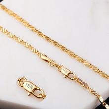 2 мм Плоское Ожерелье-цепочка для женщин и мужчин ювелирные изделия ожерелье s& Подвески ювелирные изделия 16 18 20 22 24 26 28 30 дюймов M175