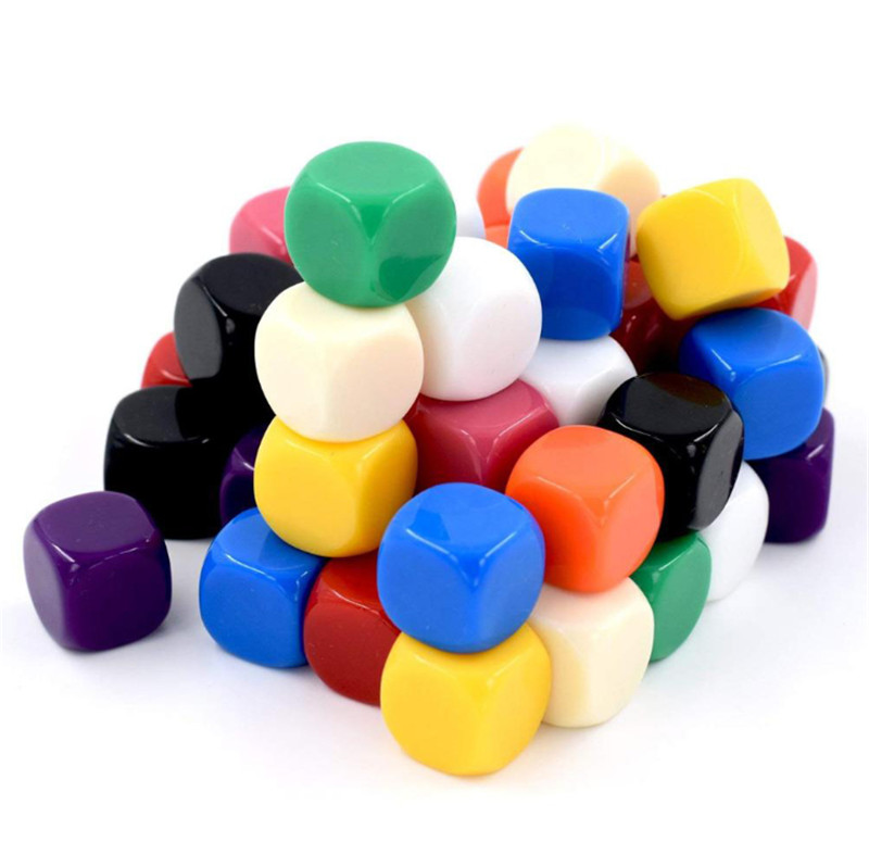 10Pcs Acrylic 16mm Multicolor Blank Dice Rounded Corner #16 Teaching Props Game Board Games Accessories Mathematical Tools