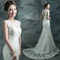 new 2015 fashinable white lace backless bandage mermaid wedding dress.vestido de noiva curto.376,ty,hd