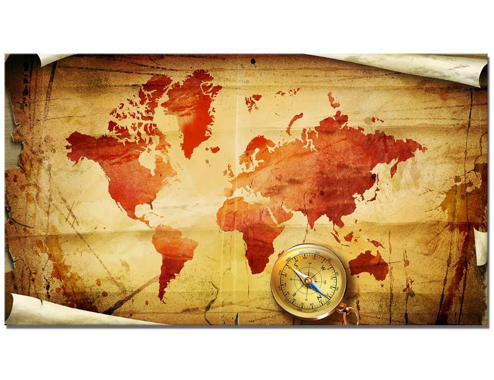 Detail Feedback Questions About Compass World Map Vintage Painting