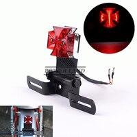 Rote Linse 12V Motorrad Mini Basis Halterung Chrome Malteser Kreuz LED Schwanz Bremse Hinten Warnen Anzahl Platte Licht Rot univerasal Fit auf