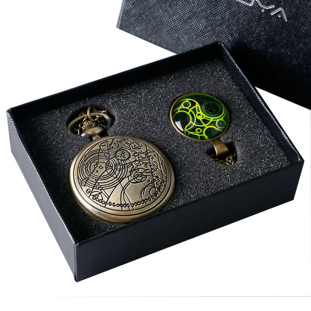 Us 11 17 30 Off Uk Movie Doctor Who Pocket Watch Men Quartz Fashion Necklace Dr Who Luxury Gift Box Set Best Gift Free Shipping In Pocket
