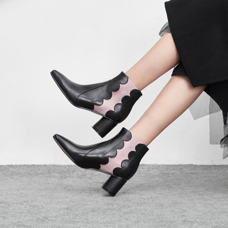 Chaussures Chic Ruches Ronde As Noir Bottes Pointu Talon Élégant Rose Femmes Sur Moyen D'hiver Slip Femme Chelsea Mixte Couleur Bout Show D2E9HWI