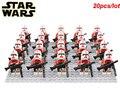 20 unids/lote clone Trooper de Star Wars Imperial IMPERIAL Rebeldes SHOCKTROOPER ROJO con 6 unids legoe armas compatible bloques de juguete Para Niños