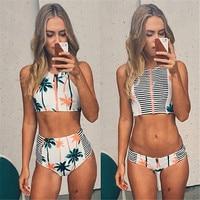 Print Floral Palm Tree Bikini Set High Neck Tank Zipper Striped Swimsuit Padded Bra High Waist