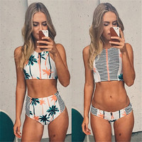 Print Floral Palm Tree Bikini Set High Neck Tank Zipper Striped Swimsuit Padded Bra High Waist