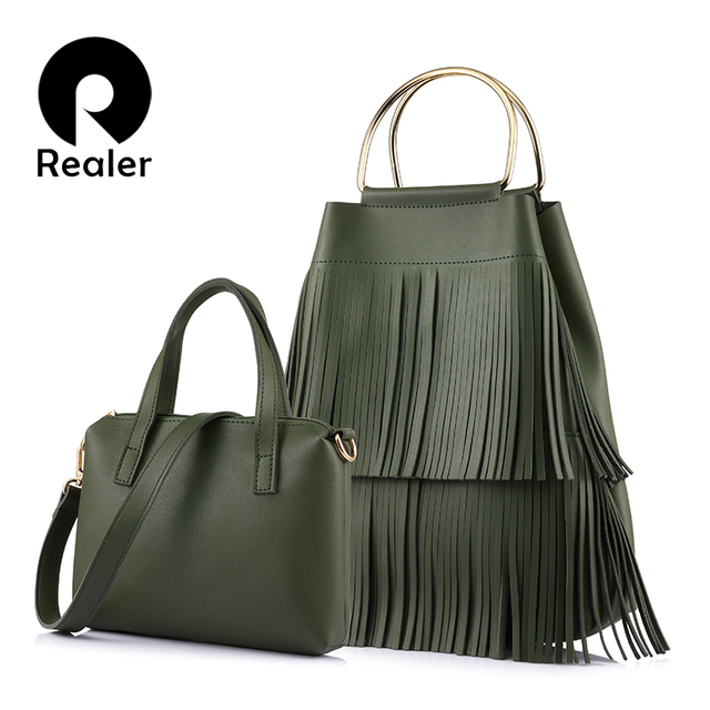 REALER brand new design fashion women large handbag with tassel female composite bag ladies crossbody bag
