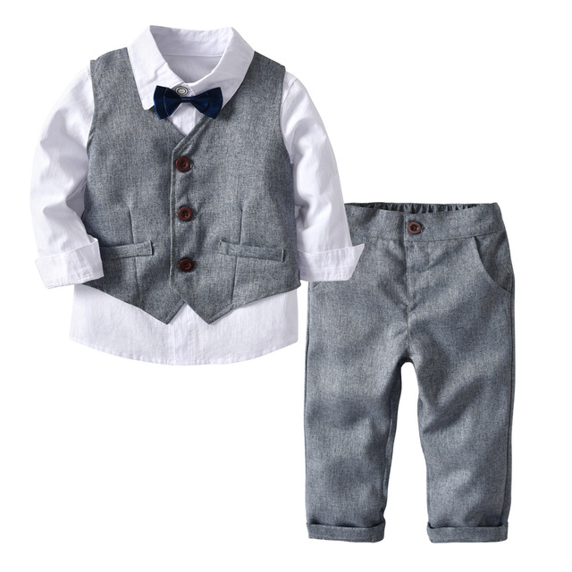 8132e7684 Kids Suits Blazers 2018 Autumn Baby Boys Shirt Overalls Coat Tie Boys Suit  for Wedding Formal Party Wear Cotton Children Clothes-in Suits from Mother  & Kids ...