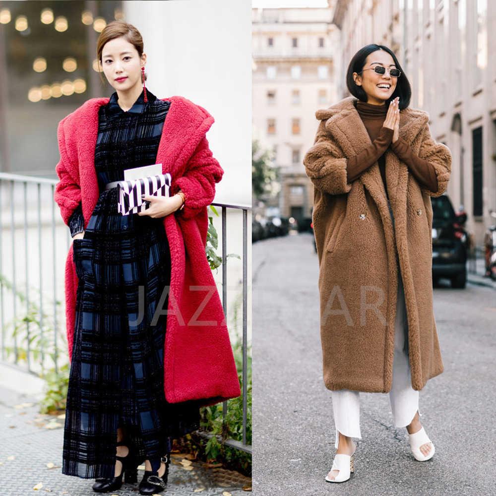 Jazzevar Musim Dingin 2019 Baru Fashion Tinggi Wanita Teddy Bear Ikon Parka X Panjang Besar Mantel Tebal Hangat Pakaian Longgar pakaian