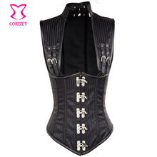 Black Stripe Sexy Cupless Buckle Shoulder Vest Waist Trainer Corsets and Bustiers Steampunk Corset Underbust Gothic Clothing(China)