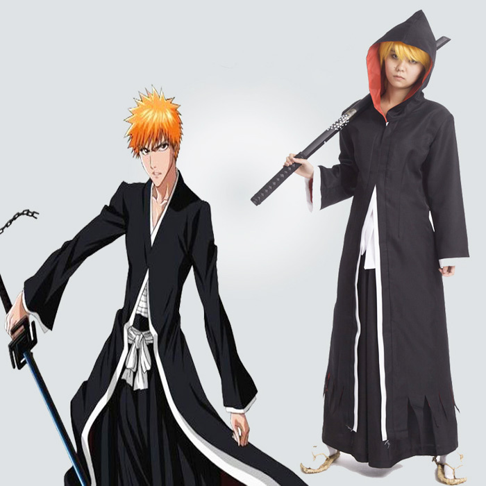 Anime BLEACH Kurosaki ichigo Cosplay Costume Bankai Hooded Cloak Full Set ( Cloak + Pants + Belt ) Halloween Clothes