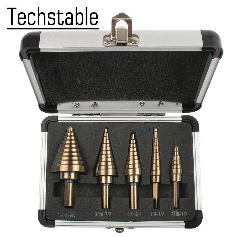 5pcs Step Drill Bit Set Hss Cobalt Multiple Hole 50 Sizes SAE Step Drills 1/4-1-3/8 3/16-7/8 1/4-3/4 1/8-1/2 3/16-1/2