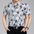 2016 Новый стиль лето мужская мода цветы печать с коротким рукавом хлопчатобумажную рубашку