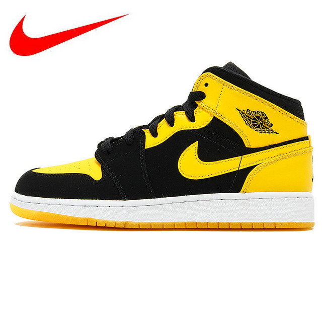 89e28302aceb Official Nike Air Jordan 1 Mid AJ1 Black Yellow Joe Men s Basketball Shoes  Sneakers