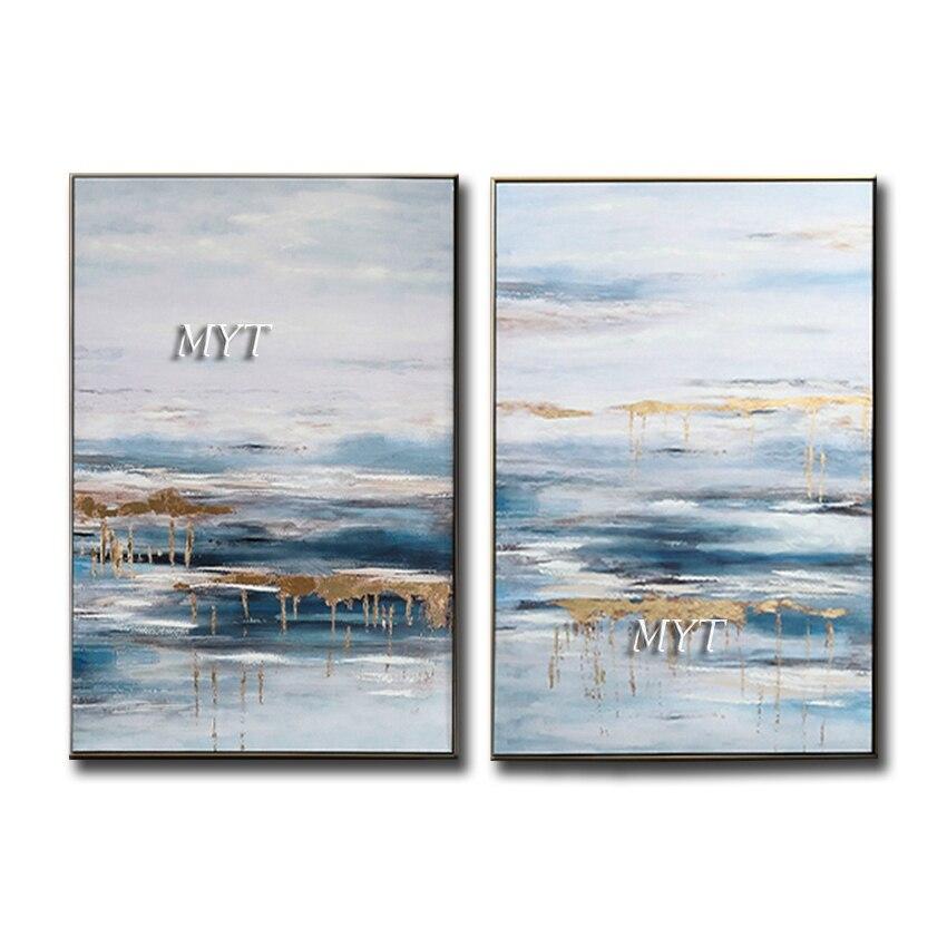 Pintados à Mão sobre Tela Pintura a Óleo do Mar Azul e Céu Decor para Sala de Estar Best Selling Abstrato Parede Home Quartos Não Emoldurado 2 Pcs