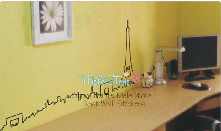 Paris City Wall Sticker Home Decor Silhouette Beautiful Skirting Line Decal Simple Tv Sofa Background Wallpaper MeleStore
