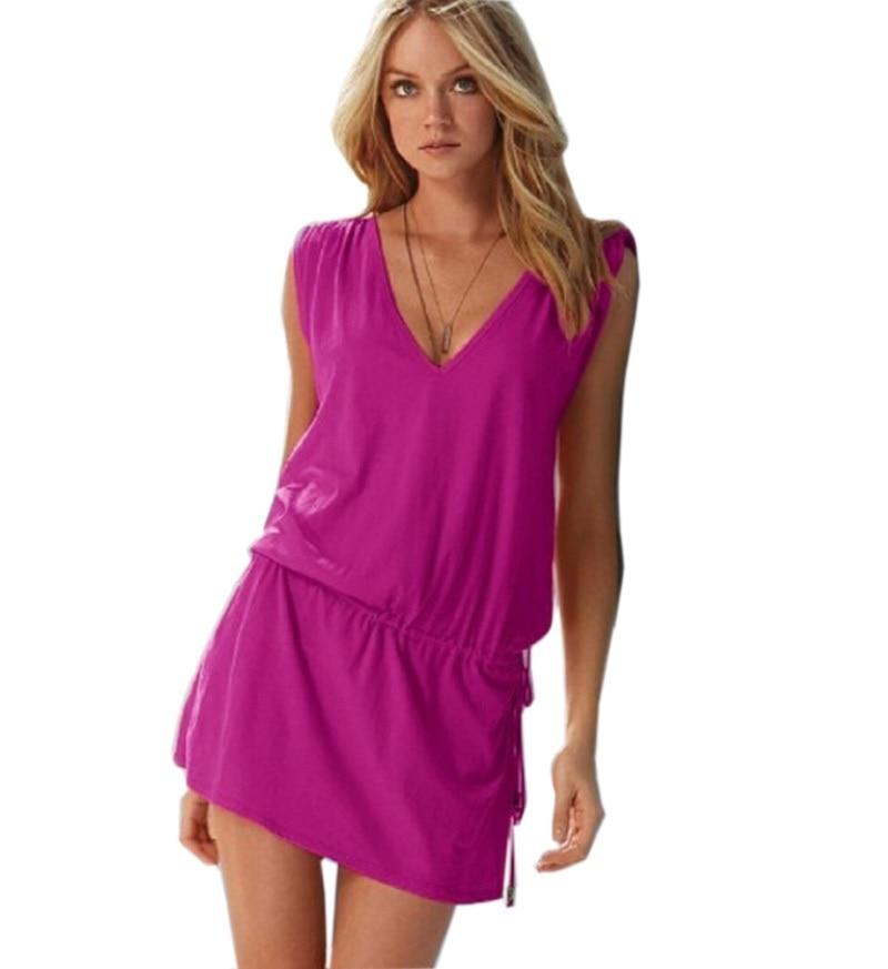 2018 nova crvena seksi ljeto žene plaža haljina vestidos bez rukava v vratu leđa pamuk plus veličina elastični struk povremeni Mini haljina