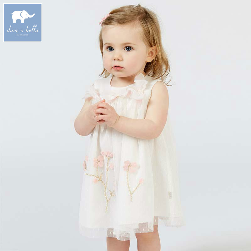 Dave bella baby girls floral dress children princess bows clothing toddler summer party wedding costumes kids gown DB7551 все цены