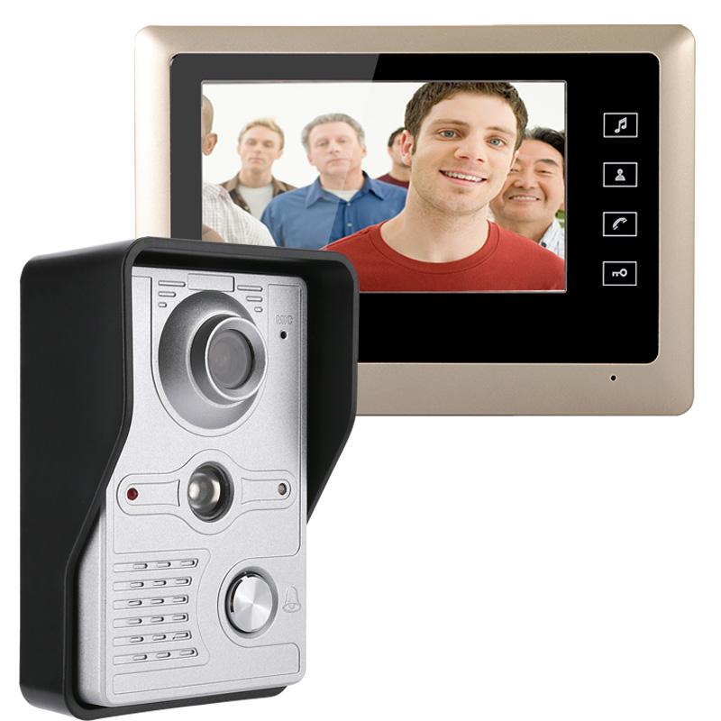 MOUNTAINONE 7 Inch Video Door Phone Doorbell Intercom Kit 1 camera 1 monitor Night Vision with