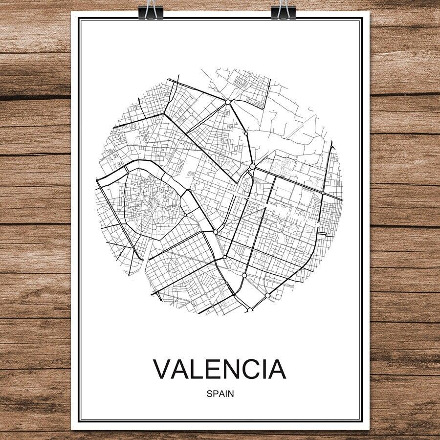 Carte Espagne Noir Et Blanc.1 82 Valence Espagne Noir Blanc Monde Ville Carte Moderne Impression Affiche Papier Enduit Pour Cafe Salon Decoration De La Maison Mur Art