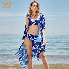 361 Floral Print Bikini Set 3 Piece Swimware Cover Up Beach Push Up Swimsuit Thong Sexy Bikini Underwire Ruffle Brazilian Bikini