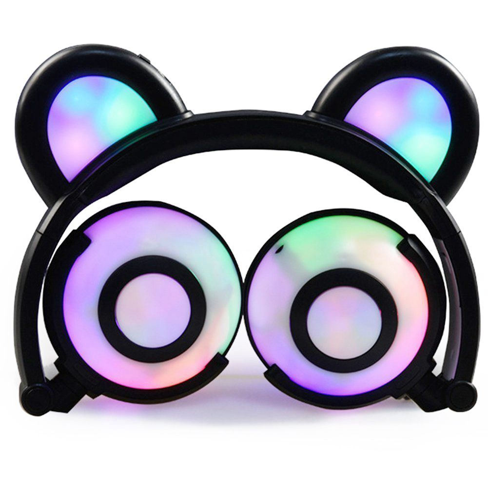 Bear Ear Headphones,Flashing Glowing Cosplay Fancy Cat Headphones Foldable Over-Ear Gaming Headsets Earphone with LED Flash li objective first 4 edition student s book without answers cd rom