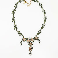 Vanssey Vintage Fashion Orange Flower Natural Freshwater Pearls Green Coating Necklace Wedding Accessories For Women 2017