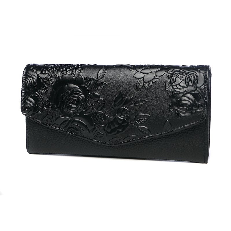 High Quality Floral Wallet Women Long Design Lady Hasp Clutch Wallet Genuine Leather Female Card Holder Wallets Coin Purse 2018 new women wallets oil wax genuine leather high quality long design day clutch cowhide wallet fashion female card coin purse